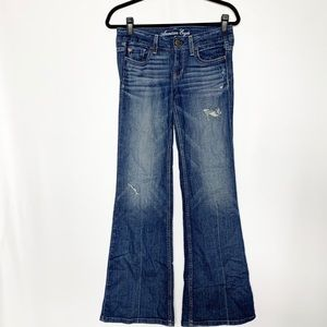 American Eagle jeans hipster flare wide leg size 2